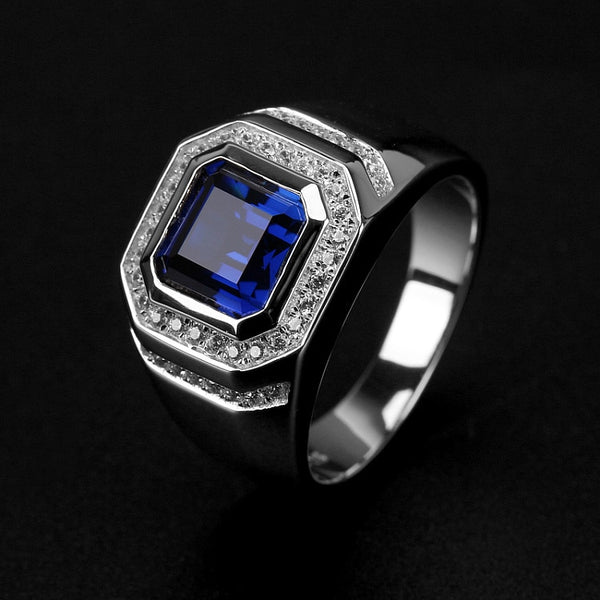 Statement male ring 925 Sterling silver 7mm Blue AAAAA Zircon cz Engagement Wedding Band Rings for men Finger Party Jewelry