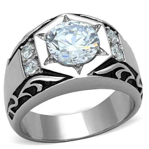 TK1606 - Stainless Steel Ring High polished (no plating) Men AAA Grade CZ Clear