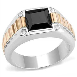 TK3227 - Stainless Steel Ring Two-Tone IP Rose Gold Men Synthetic Jet