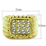 TK940G IP Gold(Ion Plating) Stainless Steel Ring with Top Grade Crystal in Clear