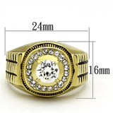 TK948G IP Gold(Ion Plating) Stainless Steel Ring with AAA Grade CZ in Clear