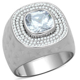 TS231 Rhodium 925 Sterling Silver Ring with AAA Grade CZ in Clear