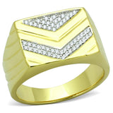 TS234 Gold+Rhodium 925 Sterling Silver Ring with AAA Grade CZ in Clear