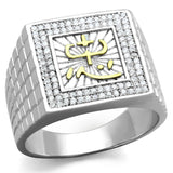 TS389 Gold+Rhodium 925 Sterling Silver Ring with AAA Grade CZ in Clear