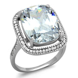 TS391 Rhodium 925 Sterling Silver Ring with AAA Grade CZ in Clear