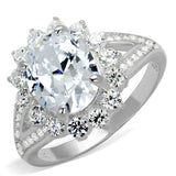 TS415 Rhodium 925 Sterling Silver Ring with AAA Grade CZ in Clear