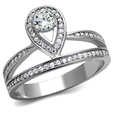 TS476 Rhodium 925 Sterling Silver Ring with AAA Grade CZ in Clear