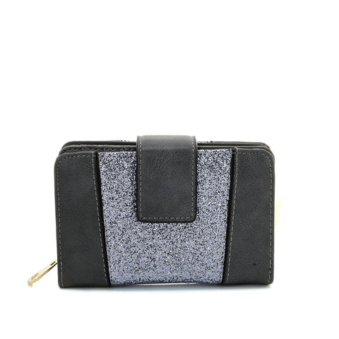 VKP1611 GREY - Short Luxury Wallet With Buckle Design