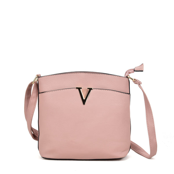 VK2042-1 Pink - Cross Body Bag With Metal Bar Detail