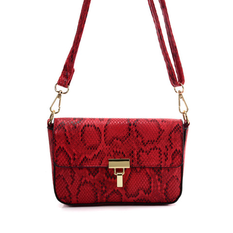 VK2116 RED - Snakeskin Handbag For Women