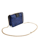VK2118 BLUE - Snakeskin Chain Bag For Women
