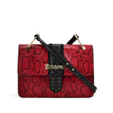 VK2119 Red - Snakeskin Cross Body Bag For Women With Buckle Design