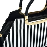 VK2126 BLACK&WHITE - Simple Set Bag With Vertical Stripes And Special Handle Design