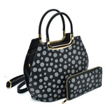 VK2127 BLACK&GREY - Simple Set Bag With Dot And Special Handle Design