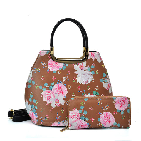 VK2131 KHAKI - Shell Set Bag With Flowers And Special Handle Design