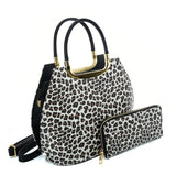 VK2134 LIGHT BROWN - Shell Set Bag With Leopard Print And Special Handle Design
