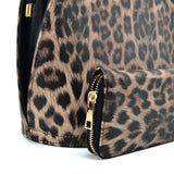 VK2134 BROWN - Shell Set Bag With Leopard Print And Special Handle Design