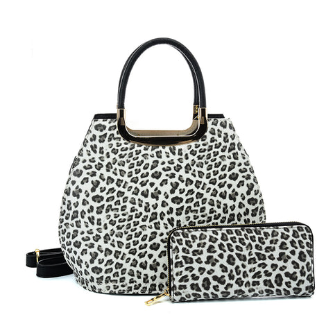 VK2134 GREY - Shell Set Bag With Leopard Print And Special Handle Design