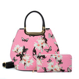 VK2135 PINK- Shell Set Bag With Flowers And Butterflies And Special Handle Design