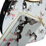 VK2135 WHITE - Shell Set Bag With Flowers And Butterflies And Special Handle Design