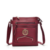 VK5338 Purplish Red - Zip Cross Body Bag With Metal Bar Detail