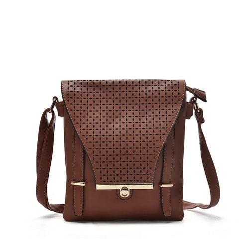 VK5339 Tan - Hollowed-out Design Cross Body Bag