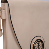 VK5344 Beige - Cross Body Bag With Metal Detail
