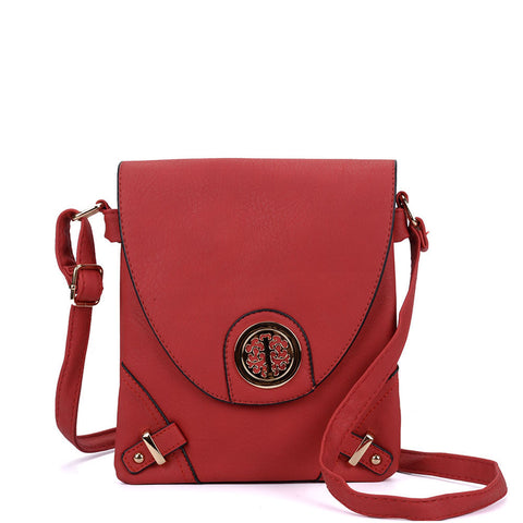 VK5344 Red - Cross Body Bag With Metal Detail