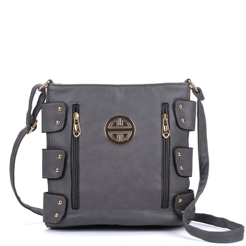VK5349 Grey - Messenger Bag With Zip Front Detail