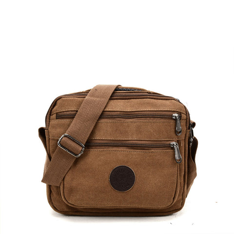 VK5495 Brown - Sports Cross Body Bag With Multiple Zipper
