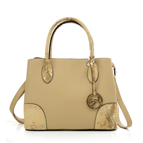 VK5509-NEW APRICOT - Solid Color Simple Tote Bag With Handle And Bottom Sequins Design