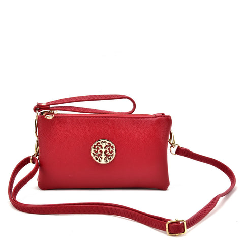 VK5530 Red - Cute Crossbody Bag With Metal detail