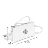 VK5530 White - Cute Crossbody Bag With Metal detail