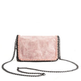 VK5531 PINK - Bright Leather Bag With Chain Handel