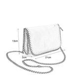 VK5531 SILVER - Bright Leather Bag With Chain Handel