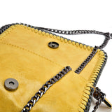 VK5531 YELLOW - Bright Leather Bag With Chain Handel