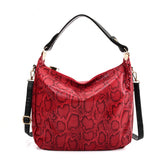 VK5534 RED - Snakeskin Handbag For Women