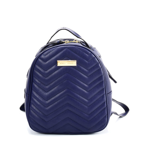 VK5535 BLUE - Solid Color Backpack With Hardware Decoration