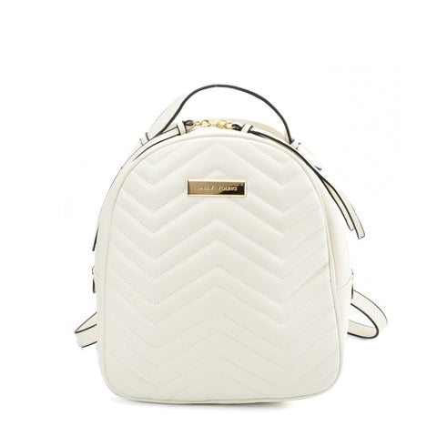 VK5535 WHITE - Solid Color Backpack With Hardware Decoration