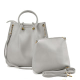 VK5542 GREY - Solid Color Leather Set Bag With Special Handles