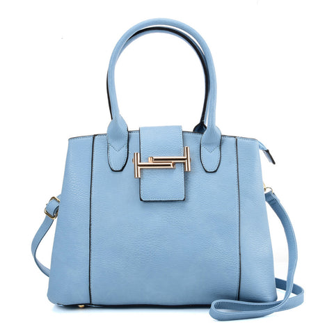 VK5543 BLUE - Solid Color Leather Handbag With Buckle Design