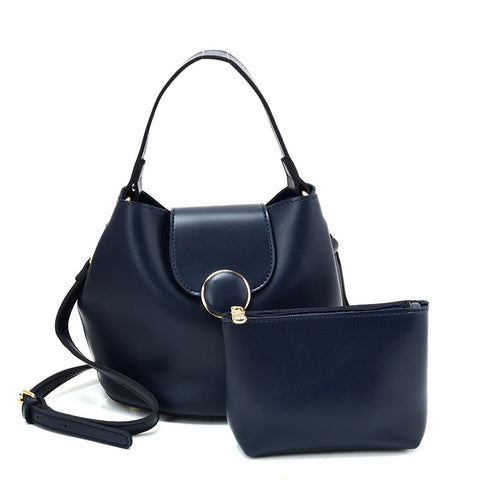 VK5564-New BLUE - Simple Solid Color Leather Set Bag With Flap And Special Handles