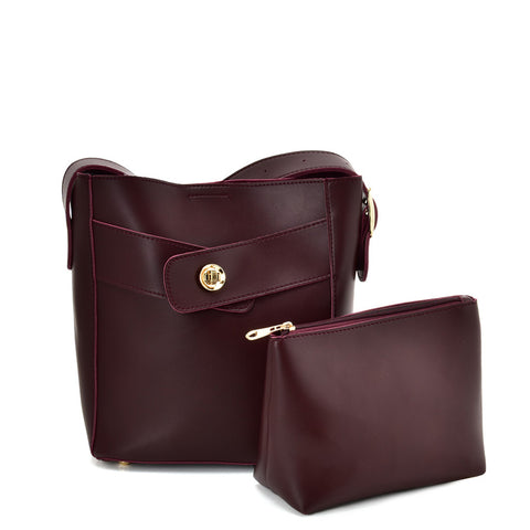 VK5565 PURPLISH RED - Solid Color Leather Set Bag With Special Handles
