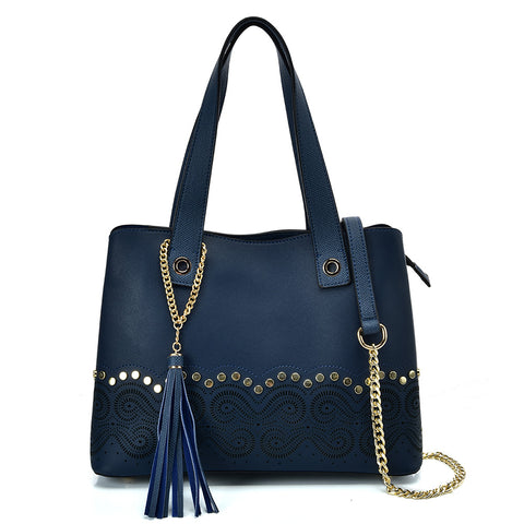 VK5585 BLUE - Solid Color Handbag With Studs And Chain Decoration