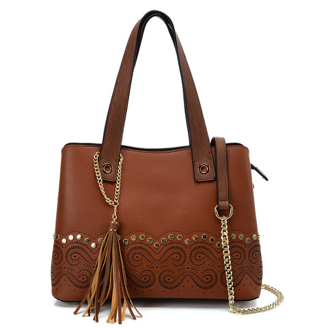 VK5585 BROWN - Solid Color Handbag With Studs And Chain Decoration