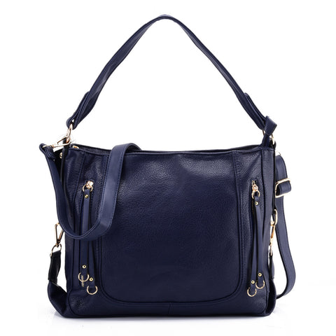 VK5596 BLUE - Pure Color Simple Handbag With Symmetrical Zipper Design