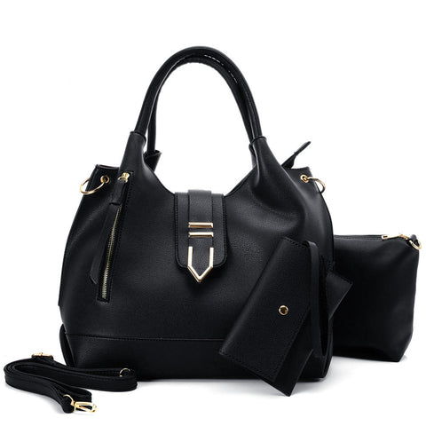 VK5602 BLACK - Pure Color Set Bag With Buckle Design And Metal Ring Decoration