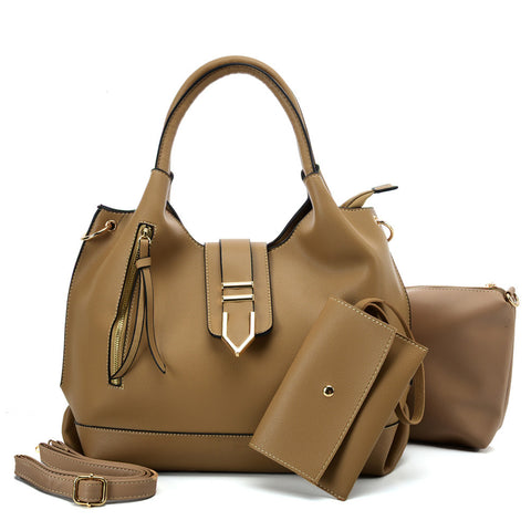 VK5602 KHAKI - Pure Color Set Bag With Buckle Design And Metal Ring Decoration