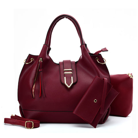 VK5602 RED - Pure Color Set Bag With Buckle Design And Metal Ring Decoration