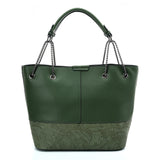 VK5603 GREEN - Solid Color Set Bag With Symmetrical Design And Special Handles